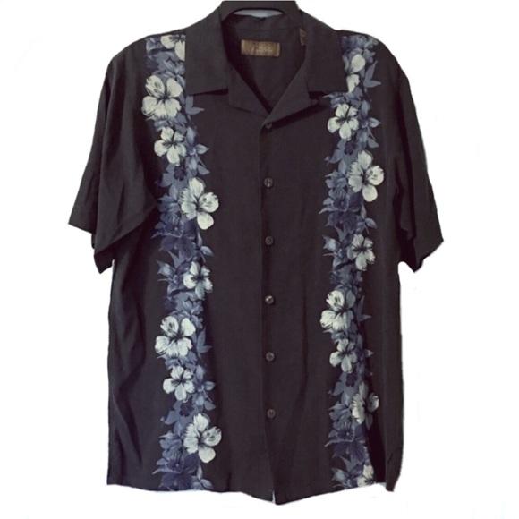 Tasso Elba Mens Tropical Silk Button Up Shirt